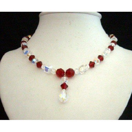 NSC204  Genuine Swarovski AB w/ Siam Red & AB Crystals Drop Pendant Necklace Handcrafted Necklace