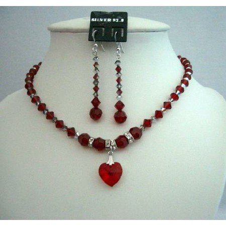 NSC250  Classic Fine Real Jewelry Bridal & Bridesmaid Genuine Siam Red Crystals Heart Pendant