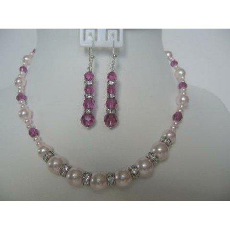 NSC267  Beautiful Necklace Set Genuine Swarovski Rosaline Pearls & Fuschia Crystals w/ Silver