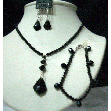NSC217  CustomMade Genuine Swarovski Jet Crystals Jewelry Set w/ Bracelet