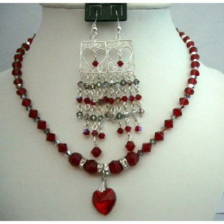 NSC252  Chandelier Earrings & Genuine Siam Red Crystals Necklace Heart Pendant