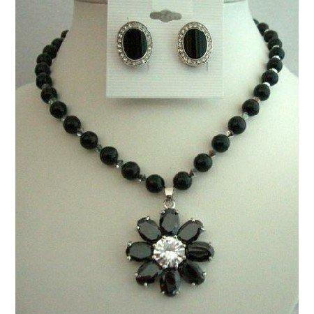 NSC251  Genuine Mystic Handcrafted Jewelry Swarovski Black Pearls Necklace Set w/ Flower Pendant