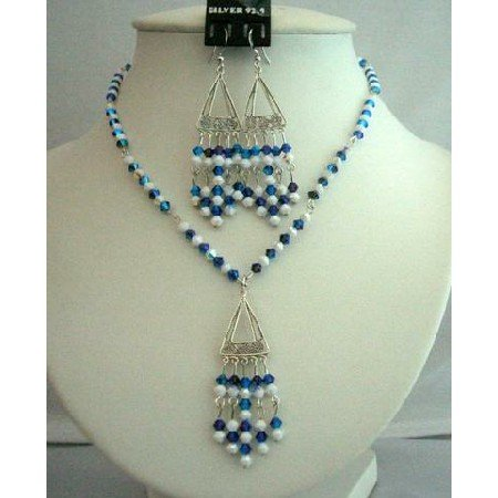 NSC257  Morian Swarovski Crystals Necklace Set & Chalk AB Crystals Genuine Swarovski Crystals