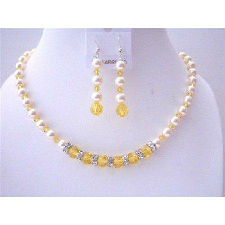 BRD528  Pumpkin Crystals Swarovski Lite Topaz Crystals w/ Ivory Pearls Bridemaids