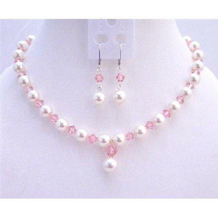 BRD739  Rose Pink Crystals White Pearls Fashionable Jewerlry Set Genuine Swarovski Crystals White