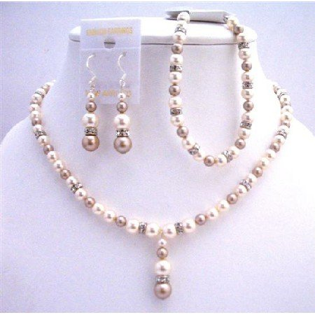 BRD721  CHampagne Ivory Pearls w/ Sparkling Simulated Diamond Spacer Drop Down Necklace