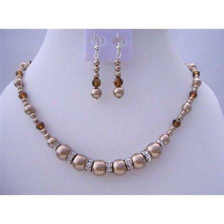 BRD429  Handcrafted Custom Pearls & Swarovski Crystals Bronze Pearls Necklace Set