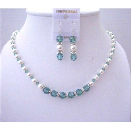 BRD533  Pistachio Swarovski Crystals Erinite Crystals w/ White Pearls And Silver Rondells