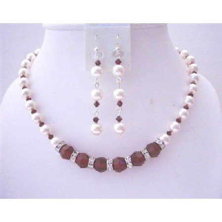 BRD532  White Pearls Dark Siam Red Crystals Birdemaids Bridal Jewelry Set Handcrafted Necklace
