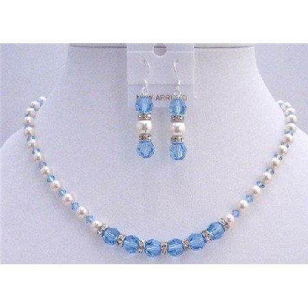 BRD742  Blue Jay Bridal Jewelry Set AB Aquamarine Crystals w/ White Pearls And Silver Rondells