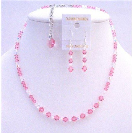 BRD791  Rose Crystals Genuine Swarovski Crystals Bridal Jewelry Set 2/ Clear Crystals Necklace Set