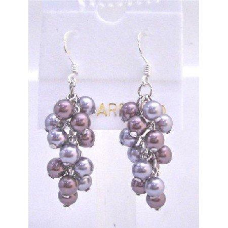 ERC444  Grape Style Earrings Swarovski Grey and Purple Pearls Earrings