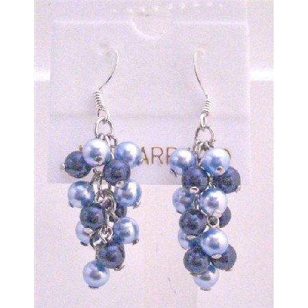 ERC491  Aquamarine Pearls & Dark Blue Pearls Earrings Jewelry Genuine Swarovski Pearls Earrings