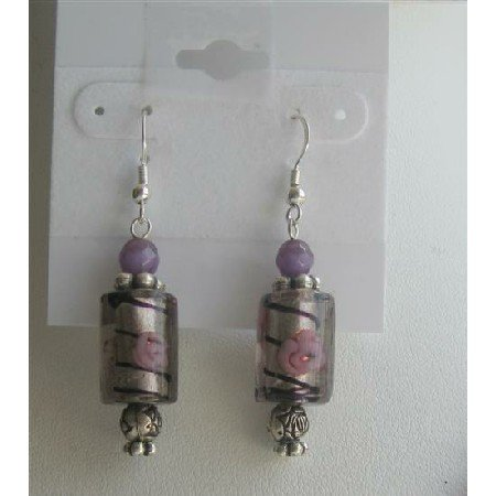 ERC374  Ethnic Millefiori Bead w/ Purpl Cat Eye & Cylindrical Millefiori Earrings Sterling Earrings