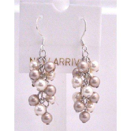 ERC453  Ivory Pearls Champagne Pearls Earrings Grape Style Genuine Swarovski Pearls Earrings