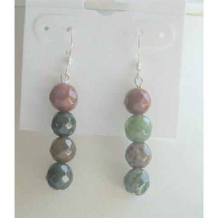 ERC377  Agate Multifaceted Beads Earrings Sterling Silver 92.5 Earrings