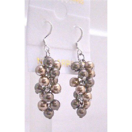 ERC449  Two Pearls Color Earrings Bronze & Brown Pearls Earrings Genuine Swarovski Pearls