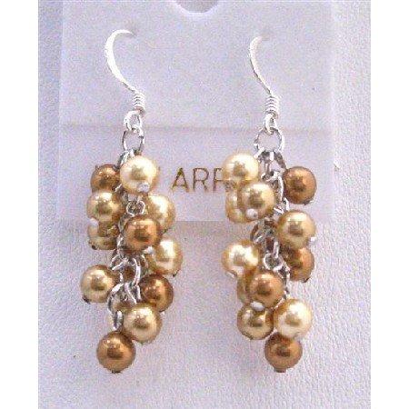 ERC443  Golden Copper Pearls Grape Style Earrings Genuine Swarovski Copper Gold Pearls Earrings