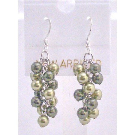 ERC452  Olive Green Pearls Jewelry Lite & Dark Swarovski Green Pearls Earrings