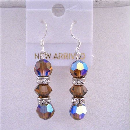 ERC418  AB Smoked Topaz Swarovski Crystals Earrings Round Crystals Beads 8mm w/ Silver Rondells