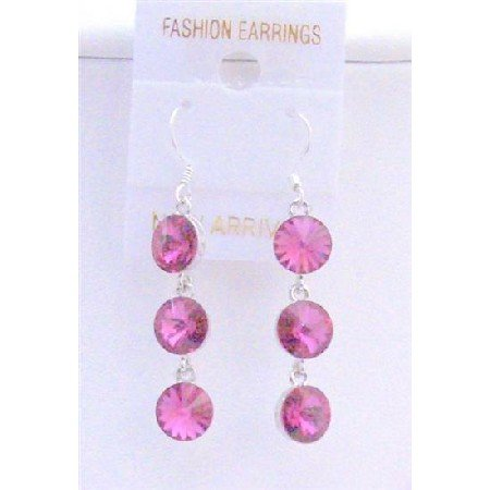 ERC428  Sexy Fuschia Crystals Dangle Earrings Round Crystals Bead 10mm Sterling silver Hook Earrings