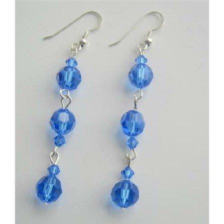 ERC350  Swarovski Blue Sapphire Dangling Earrings Sterling Silver Sapphire Crystals Earrings