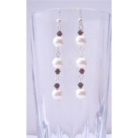 ERC358  Swarovski White Pearls And Siam Red Crystals Earrings Sterling Silver Hook Earrings
