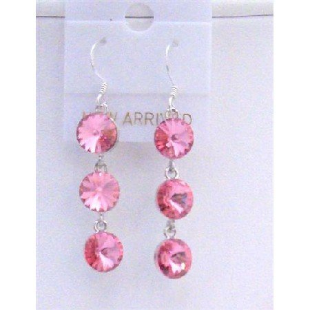 ERC430  Rose Pink Crystals Round 10mm Swarovski Crystals Dangle Earrings
