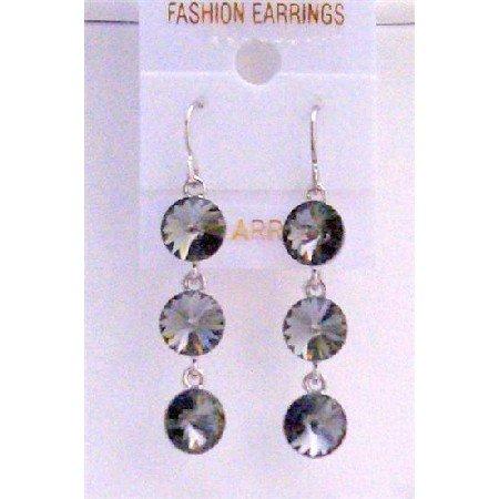 ERC433  Black Diamond Swarovski Crystals Round Beads 10mm Sterling Silver Earrings