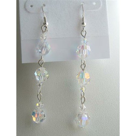 ERC354  Swarovski Crystals Dangling Earrings AB Crystals Round Sterling Silver Earrings