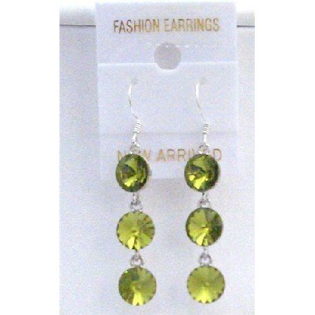 ERC429  Round Crystals Olivine 10mm Crystals Earrings w/ Genuine Sterling Silver 92.5 Hook Earrings