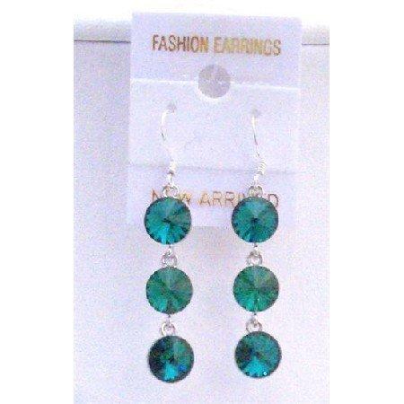 ERC427  Emerald Green Swarovski Round Crystals 10mm Dangle Earrings w/ Genuine Sterling Silver
