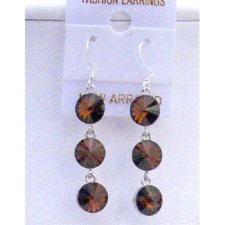 ERC432  Brown Smoked Topaz Round Crystals 10mm Dangle Earrings w/ Genuine Sterling Silver