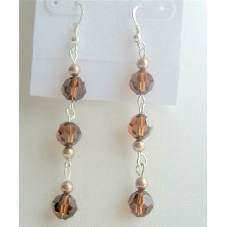 ERC352  Swarovski Crystals Smoked Topaz Chandelier Dangling Earrings Round Crystals