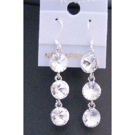 ERC424  White Clear Crystals Dangle Earring Round Crystals 10mm Bead w/ Genuine Sterling Silver