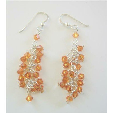 ERC365  Swarovski Copper Saprkling Bunches Crystals Beads Chandelier Earrings