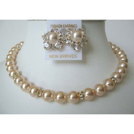 BRD309  Rich Of Pearls Swarovski Peach Pearls Bridal Mother Jewelry Bridesmaids w/ Gold Rondells