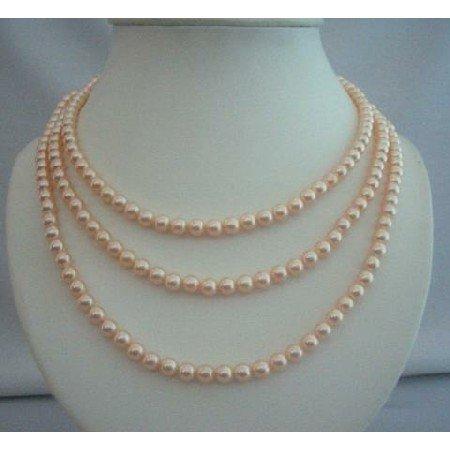 BRD293  3 Stranded Genuine Swavorski Peach Pearls Bridal Bridesmaid Mother of Bride Handcrafted