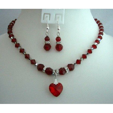 BRD303  Bridal Gifts & Favors Genuine Siam Red Crystals Handcrafted Custom Jewelry