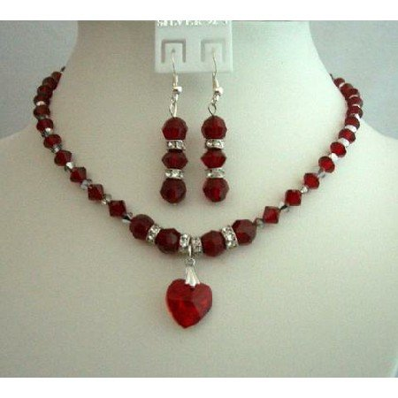 BRD254  Bridal & Bridesmaid Jewelry Red Crystals Heart Pendant Necklace Set