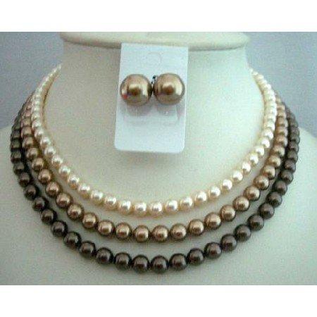 BRD333  Handcrafted Custom Wedding THREE STRANDS NECKLACE SET Genuine Swavorski Pearls