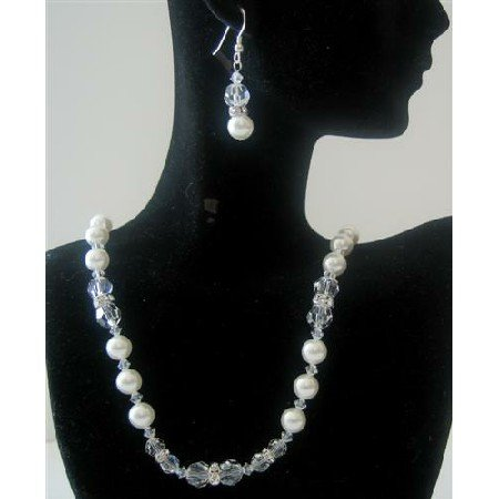 BRD377  Clear Crystals Bridal Jewelry w/ Genuine Swarovski White Pearls & Clear Crystals
