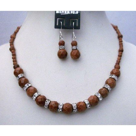 BRD352  Party Bridemaidemaids Wedding Handmade Jewelry Goldenstone Beads Necklace