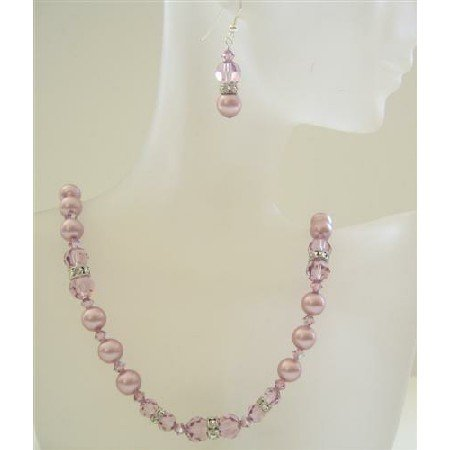 BRD372  Powder Rose Pearls Jewelry w/ Amethyst Swarovsk Crystals Wedding Party Handcrafted Necklace