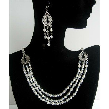 BRD385  Genuine Swarovski Crystals Collection White Pearls And Moonlite Crystals 3 Strands
