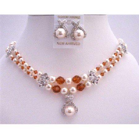 BRD732  Wedding Jewelry Bridal Cream Pearls SWarovski Burnt Orange Crystals Necklace