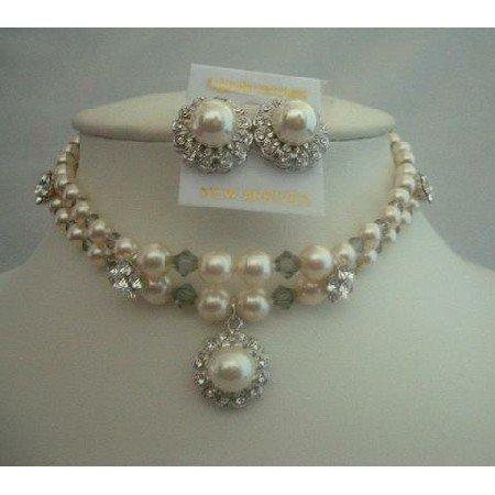 BRD156  Crystals Dreams Double Stranded Pearls & Swarovski Crystals Chokers Genuine Cream Pearls