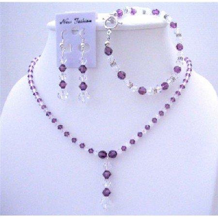 BRD414  Amethyst Crystals Custom Jewelry Swarovski AB & Amethyst Crystals Necklace Earrings