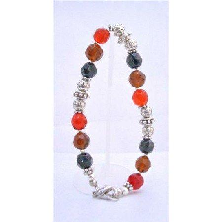 TB639  Glass Beads Red Onyx Topaz Brown Bracelet w/ Flat Spacer & Silver Daisy Sapcer Plastic