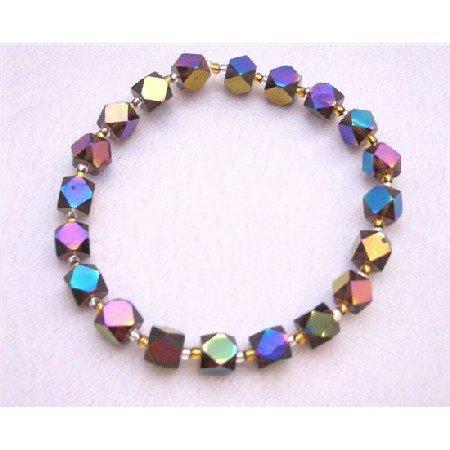 TB612  Sparkling Geometrical Beads Bracelet Cuboids & Bicone Shaped Beads New Beads
